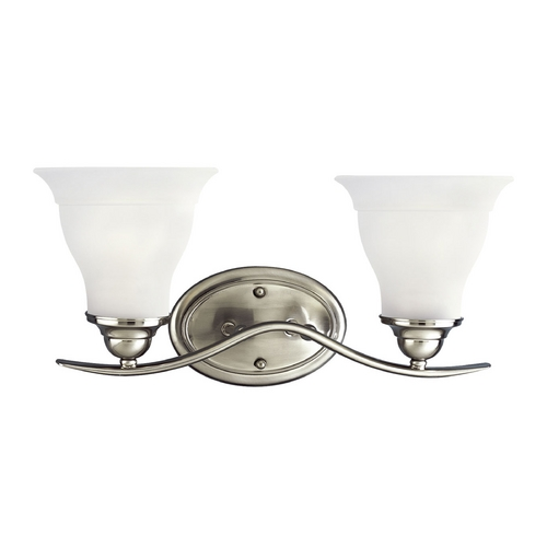Progress Lighting Progress Bathroom Light with White Glass in Brushed Nickel Finish P3191-09