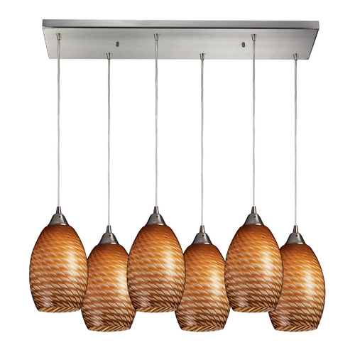 Elk Lighting Modern Multi-Light Pendant Light with Brown Glass and 6-Lights 517-6RC-C