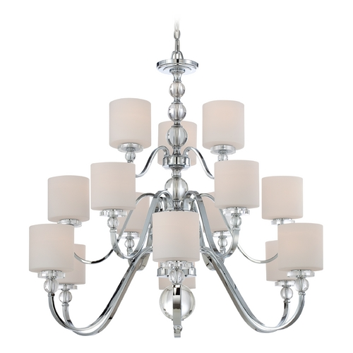 Quoizel Lighting Modern Chandelier with White Glass in Polished Chrome Finish DW5015C
