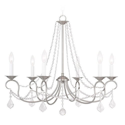 Livex Lighting Livex Lighting Pennington Brushed Nickel Crystal Chandelier 6516-91