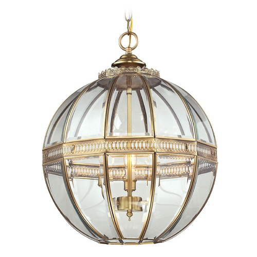 Elk Lighting Elk Lighting Randolph Brushed Brass Pendant Light with Globe Shade 22021/3