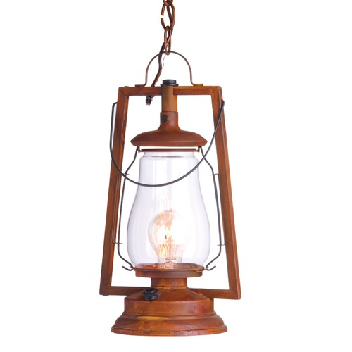 Sutters Mill Lantern Co Chain Mount Rustic Hanging Lantern - Natural Rust Finish 752-S-4-NR-CL