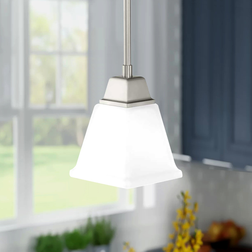 Progress Lighting Clifton Heights Brushed Nickel Mini-Pendant Light with Square Shade P500125-009
