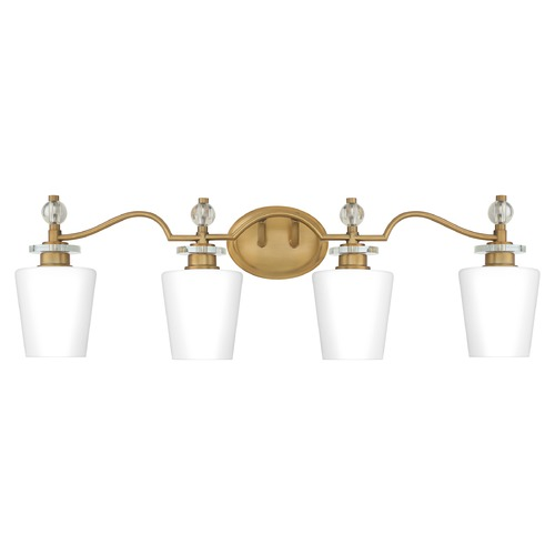 Quoizel Lighting Quoizel Lighting Hollister Weathered Brass 4-Light Bathroom Light with Opal Glass HS8604WS