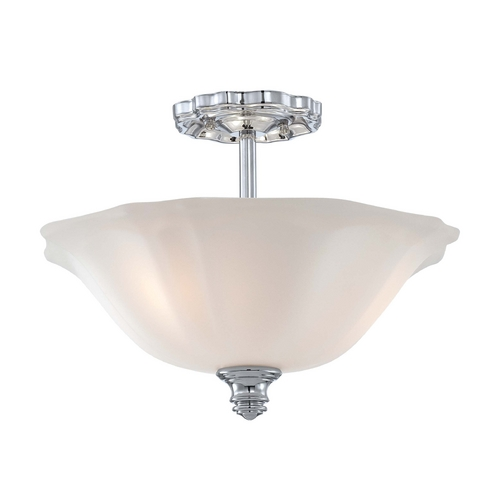 Minka Lavery Semi-Flushmount Light with White Glass in Chrome Finish 6597-77