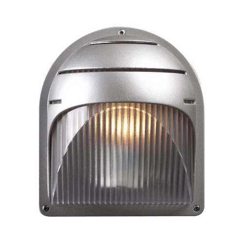 PLC Lighting Modern Outdoor Wall Light with White Glass in Silver Finish 1842 SL