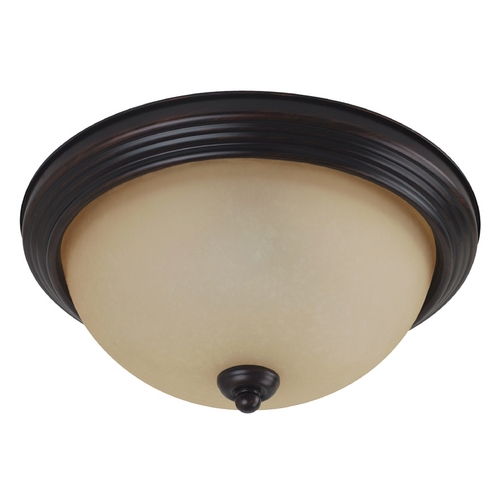 Sea Gull Lighting Flushmount Light with Amber Glass in Burnt Sienna Finish 77064-710
