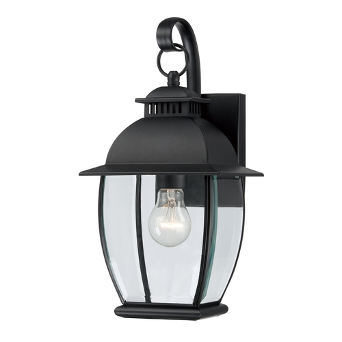 Quoizel Lighting Outdoor Wall Light with Clear Glass in Mystic Black Finish BAN8407K