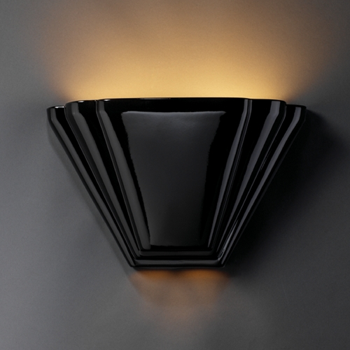 Justice Design Group Sconce Wall Light in Gloss Black Finish CER-2700-BLK