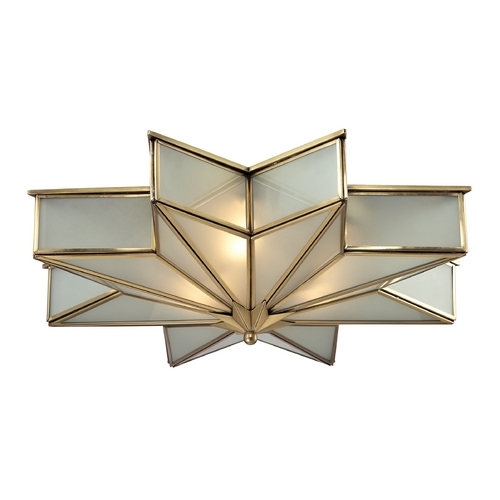 Elk Lighting Flushmount Light with White Glass in Brushed Brass Finish 22011/3