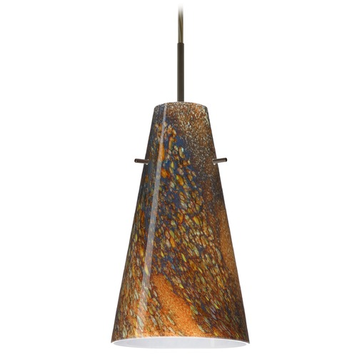 Besa Lighting Besa Lighting Cierro Bronze LED Mini-Pendant Light with Conical Shade 1JT-4124CE-LED-BR
