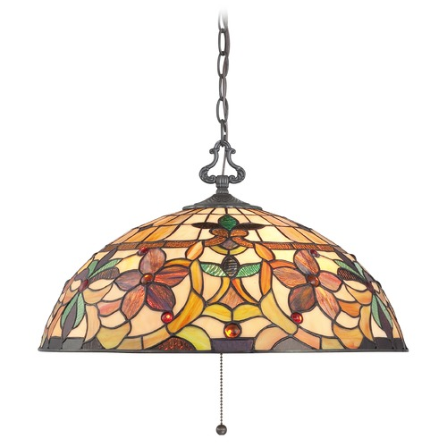 Quoizel Lighting Pendant Light with Multi-Color Glass in Vintage Bronze Finish TF878CVB