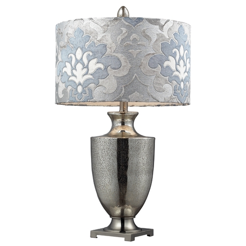 Elk Lighting Modern Table Lamp with Grey Shade in Antique Mercury Glass with Polished Chrome Finish D2248P