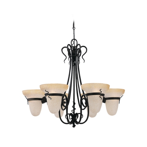 Sea Gull Lighting Chandelier with Amber Glass in Forged Iron Finish 3211-185