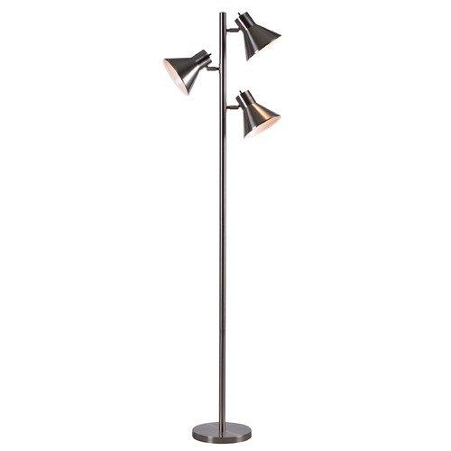 Kenroy Home Lighting Kenroy Home Ash Brushed Steel Floor Lamp with Conical Shade 32838BS