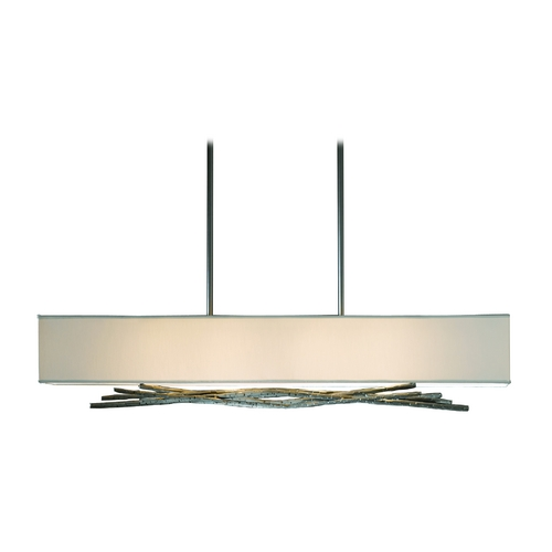 Hubbardton Forge Lighting Brindille Adjustable Island Pendant with Natural Linen Shade 137660-08-592