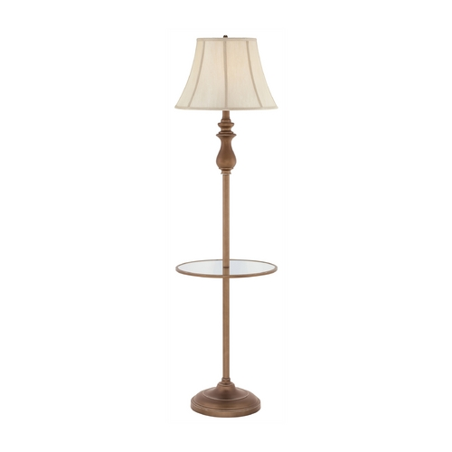 Quoizel Lighting Gallery Tray Lamp with White Shade in Palladian Bronze Finish Q1055FPN