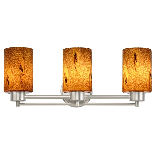 Design Classics Lighting Modern Bathroom Light with Brown Art Glass in Satin Nickel Finish 703-09 GL1001C