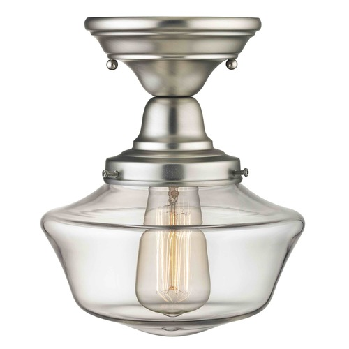 Design Classics Lighting Design Classics Elliott Fitter with Powellhurst Glass Satin Nickel Semi-Flushmount Lights FBS-09 / GA8-CL