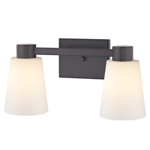 Design Classics Lighting 2-Light White Glass Bathroom Vanity Light Bronze 2102-220 GL1055