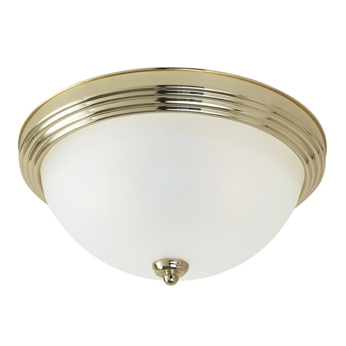 Sea Gull Lighting Flushmount Light with White Glass in Polished Brass Finish 77065-02