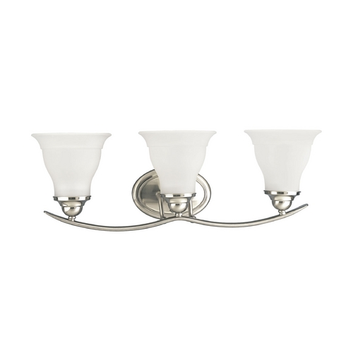 Progress Lighting Progress Bathroom Light with White Glass in Brushed Nickel Finish P3192-09