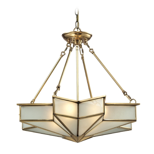 Elk Lighting Pendant Light with White Glass in Brushed Brass Finish 22012/4