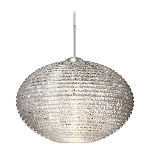 Besa Lighting Besa Lighting Pape Satin Nickel LED Pendant Light with Globe Shade 1JT-4912GL-LED-SN