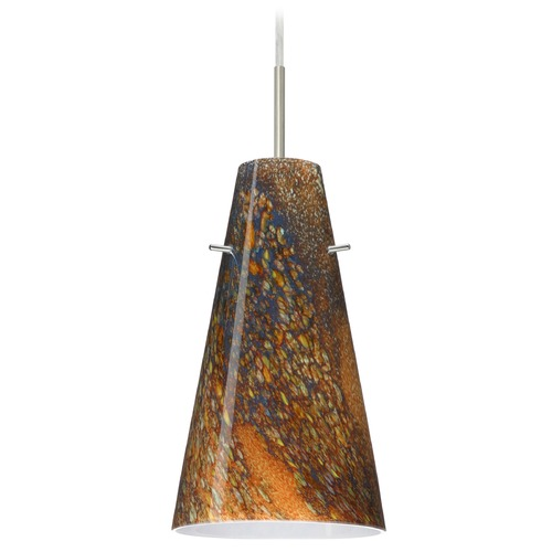 Besa Lighting Besa Lighting Cierro Satin Nickel LED Mini-Pendant Light with Conical Shade 1JT-4124CE-LED-SN