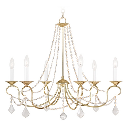 Livex Lighting Livex Lighting Pennington Polished Brass Crystal Chandelier 6516-02