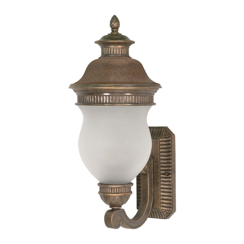 Nuvo Lighting Outdoor Wall Light with White Glass in Platinum Gold Finish 60/876