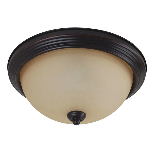 Sea Gull Lighting Flushmount Light with Amber Glass in Burnt Sienna Finish 77065-710