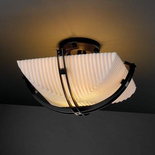 Justice Design Group Justice Design Group Porcelina Collection Semi-Flushmount Light PNA-9710-25-PLET-MBLK