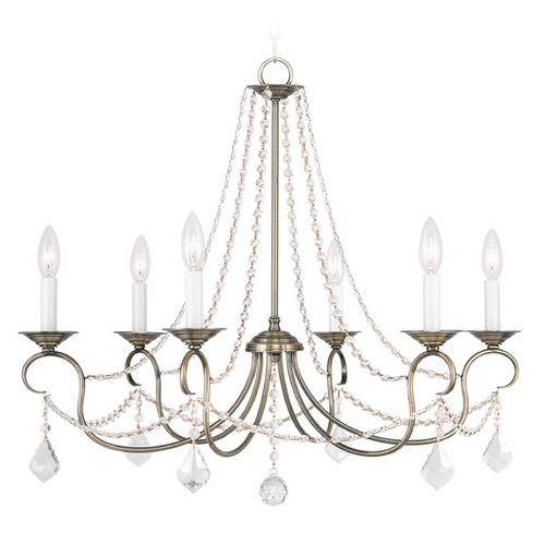 Livex Lighting Livex Lighting Pennington Antique Brass Crystal Chandelier 6516-01