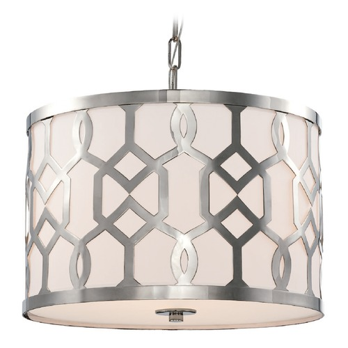 Crystorama Lighting Crystorama Lighting Jennings Polished Nickel Pendant Light with Drum Shade 2265-PN