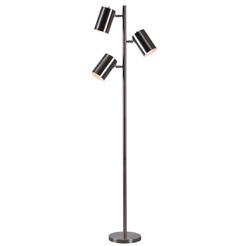 Kenroy Home Lighting Kenroy Home Beech Brushed Steel Floor Lamp with Cylindrical Shade 32839BS