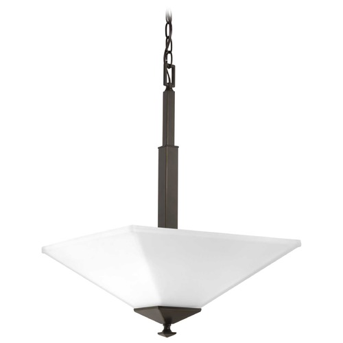 Progress Lighting Clifton Heights Antique Bronze Pendant Light with Square Shade P500126-020