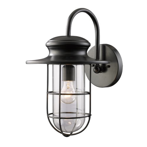 Elk Lighting Outdoor Wall Light with Clear Glass in Matte Black Finish 42285/1