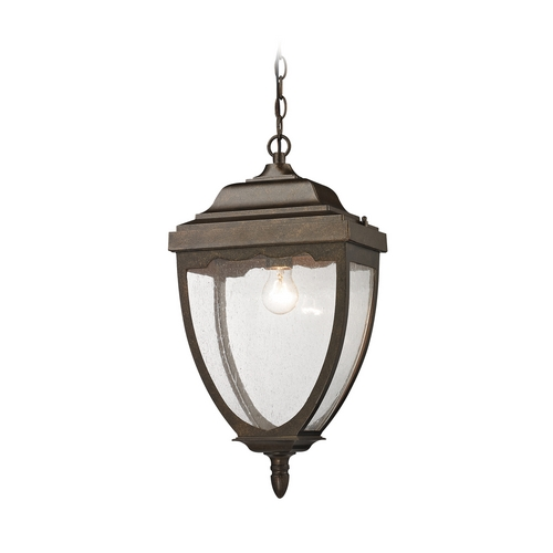 Elk Lighting Outdoor Hanging Light with Clear Glass in Hazelnut Bronze Finish 27012/1