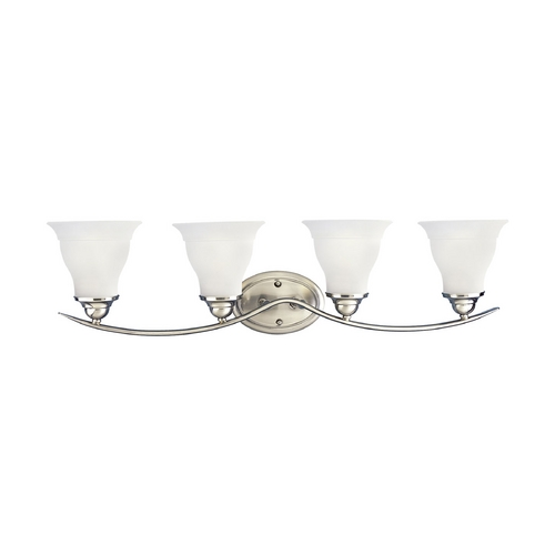 Progress Lighting Progress Bathroom Light with White Glass in Brushed Nickel Finish P3193-09