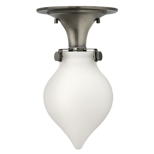 Hinkley Lighting Semi-Flushmount Light with White Glass in Antique Nickel Finish 3145AN