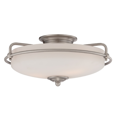 Quoizel Lighting Modern Flushmount Light with White Glass in Antique Nickel Finish GF1617AN