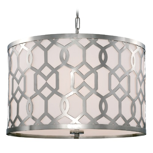 Crystorama Lighting Crystorama Lighting Jennings Polished Nickel Pendant Light with Drum Shade 2266-PN