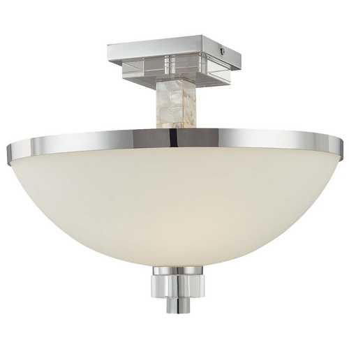 Minka Lavery Modern Semi-Flushmount Light with White Glass in Chrome with Natural Shell Finish 4247-77