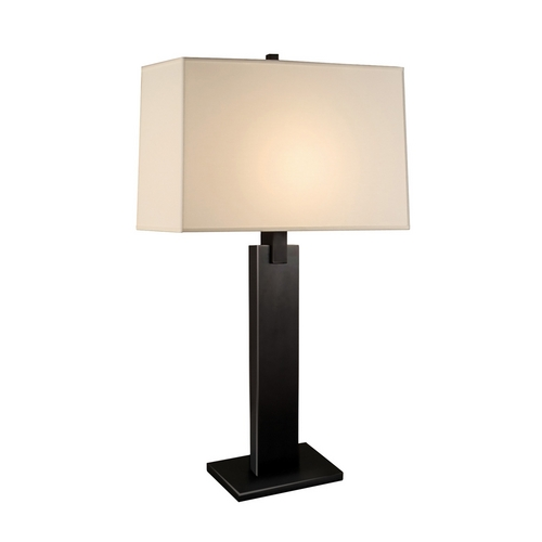 Sonneman Lighting Modern Table Lamp with Beige / Cream Shade in Black Brass Finish 3305.51