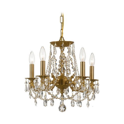 Crystorama Lighting Crystal Mini-Chandelier in Aged Brass Finish 5545-AG-CL-MWP