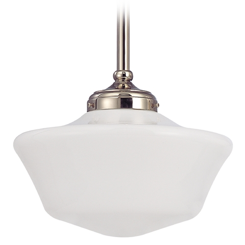 Design Classics Lighting 12-Inch Vintage Style Schoolhouse Pendant Light in Polished Nickel FA4-15 / GA12