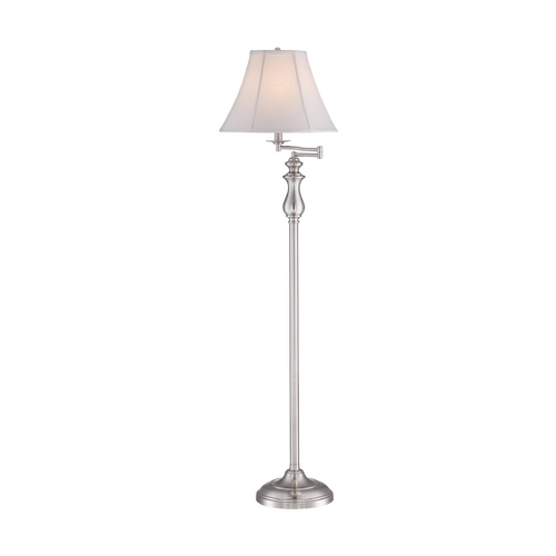 Quoizel Lighting Swing Arm Lamp with White Shade in Brushed Nickel Finish Q1056FBN