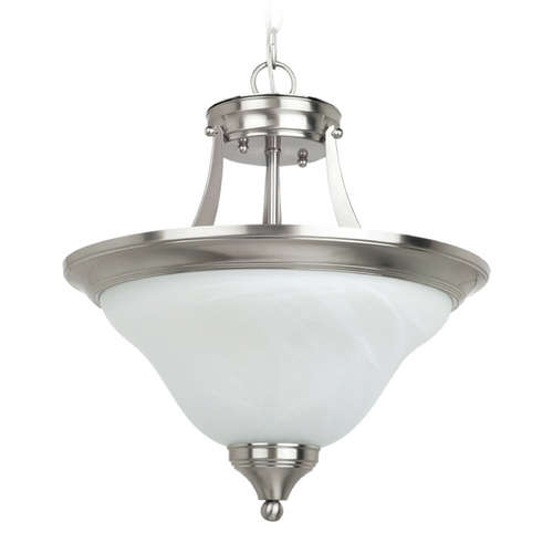 Sea Gull Lighting Pendant Light with Alabaster Glass in Brushed Nickel Finish 77174-962