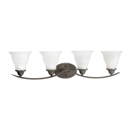 Progress Lighting Progress Bathroom Light with White Glass in Antique Bronze Finish P3193-20